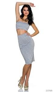 Top + Skirt Gray / White