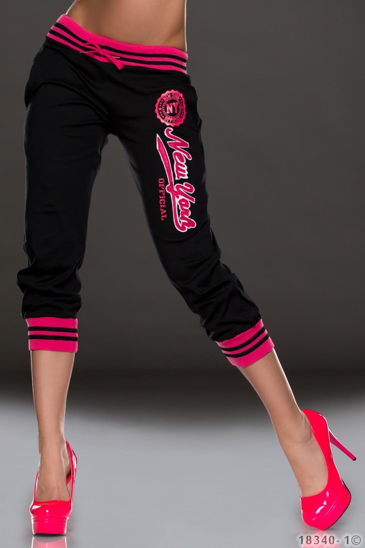 7/8-Joggingbroek Zwart - Roze