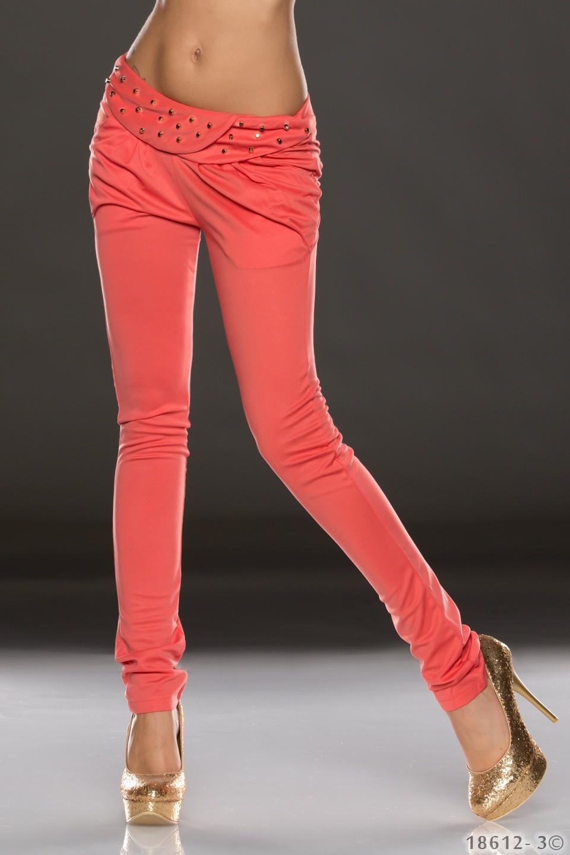 Skinny Broek Helder Oranje