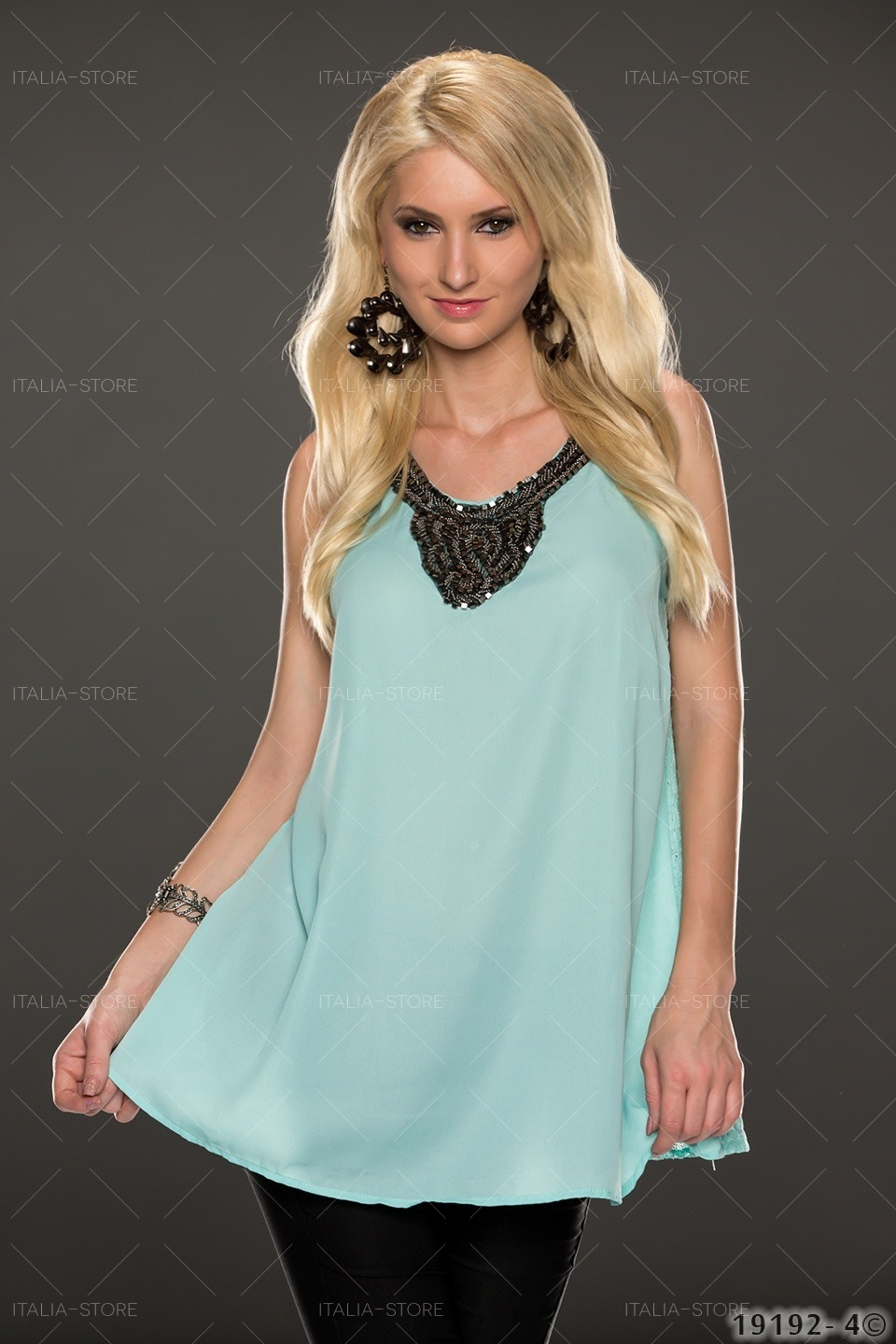 Long-Top Turquoise-groen