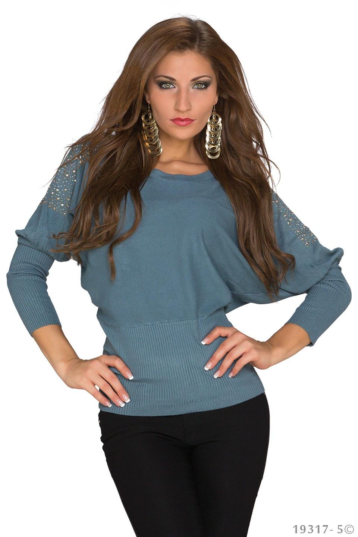Shirt met lange mouwen Grijs - Blauw