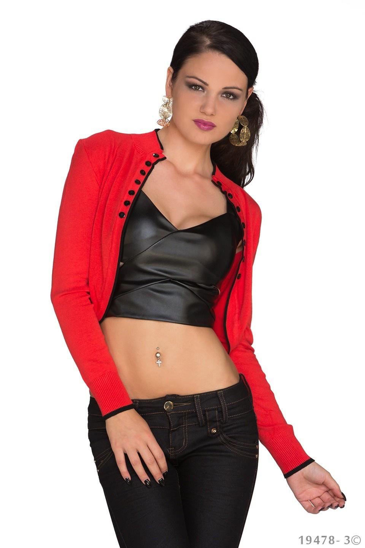 Bolero met lange mouwen Rood - Zwart