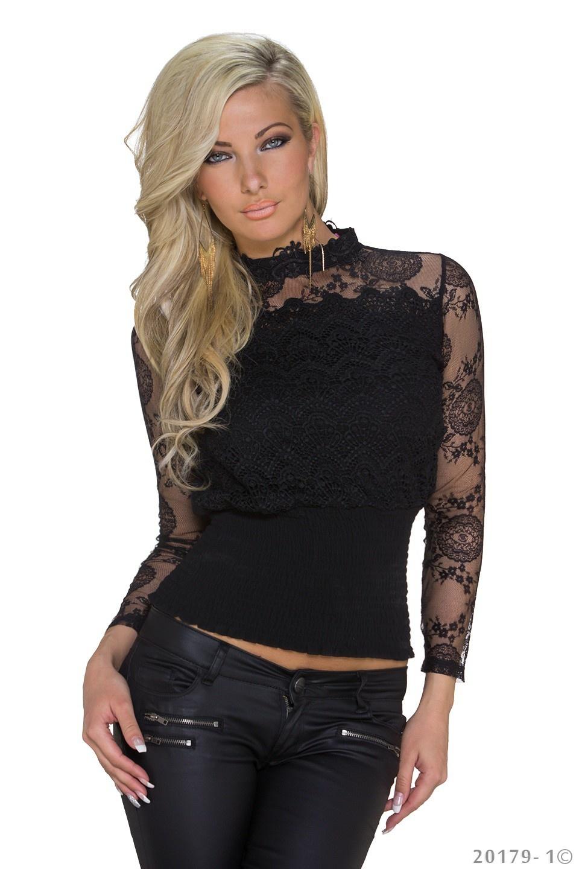 Net-Shirt Zwart
