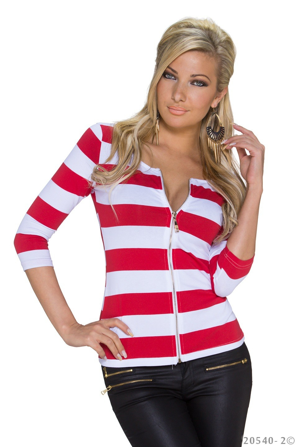 3/4-Mouw-Shirt Wit - Rood