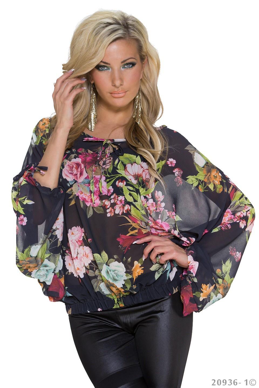 Kimono-Shirt Mixed - Zwart