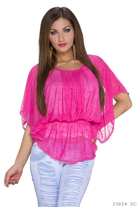 Top + Shirt Fuchsia - Wit
