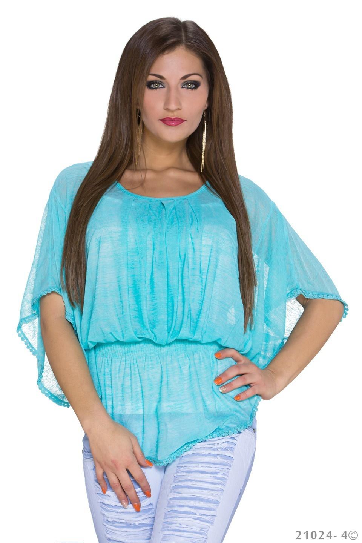 Top + Shirt Aqua - Wit