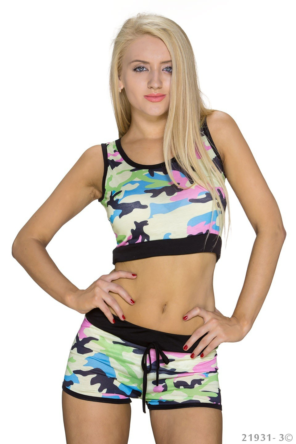 Top + Hotpants Camouflage - Geel