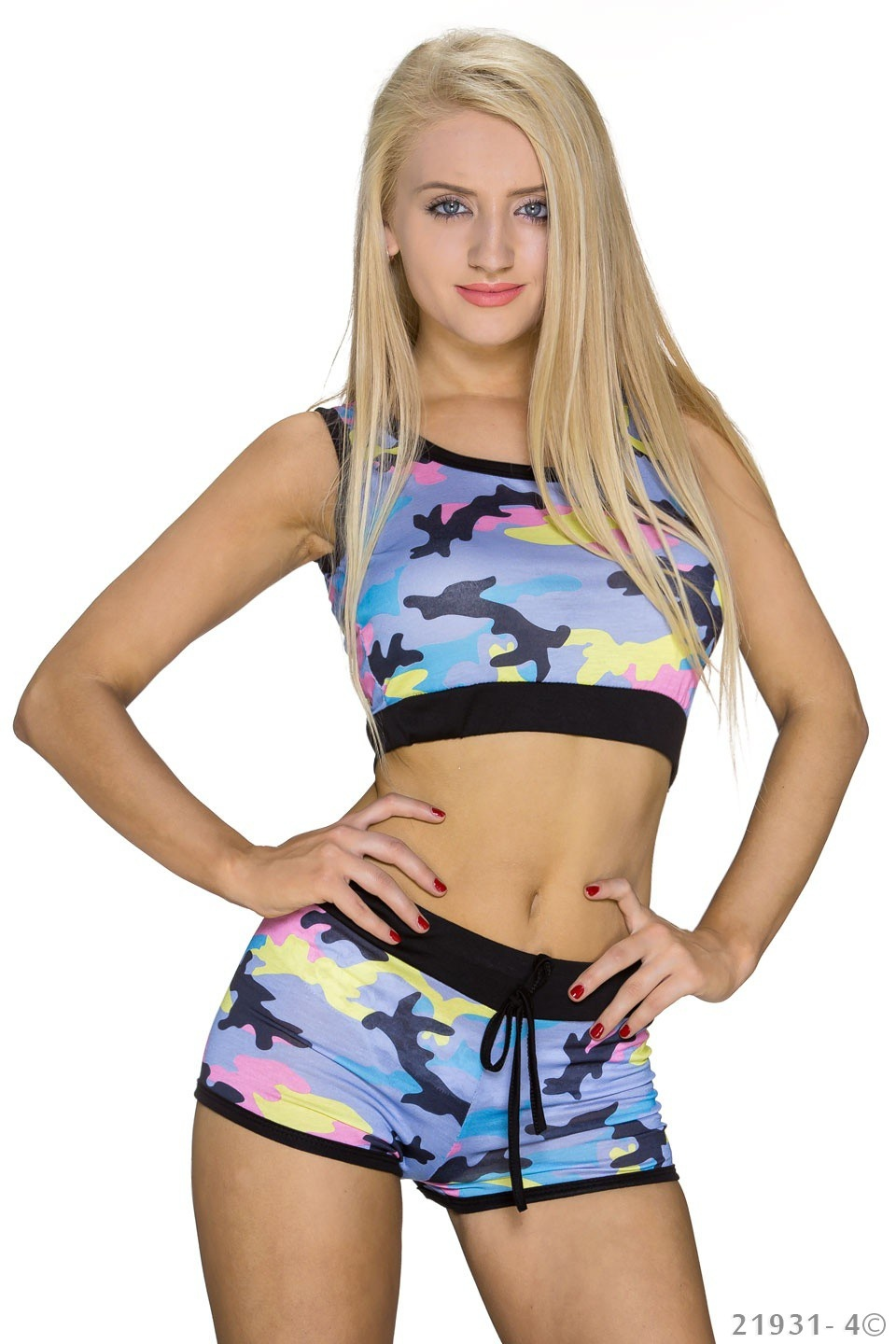Top + Hotpants Camouflage - Babyblauw