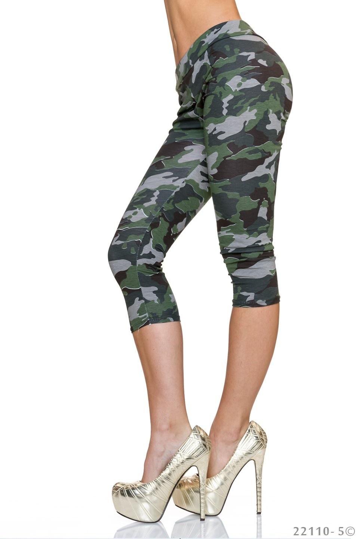 3/4-leggings Camouflage - Olijf