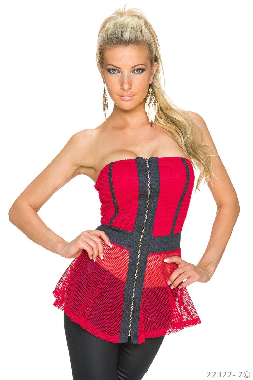 Strapless Top Rood - Zwart