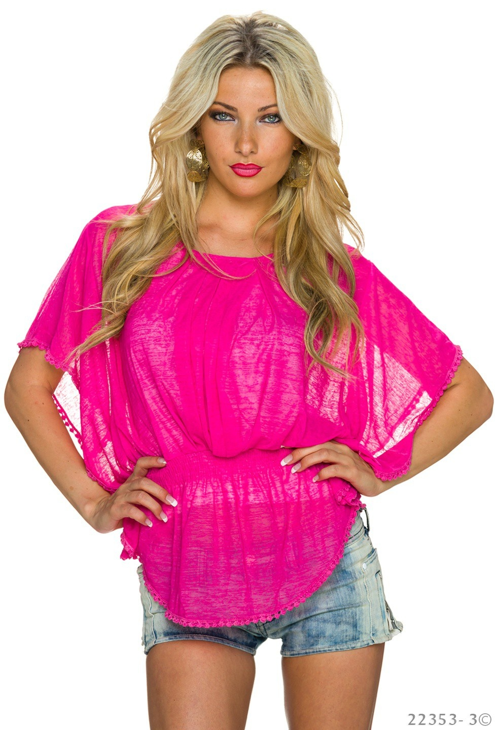 Top + Shirt Fuchsia - Wit