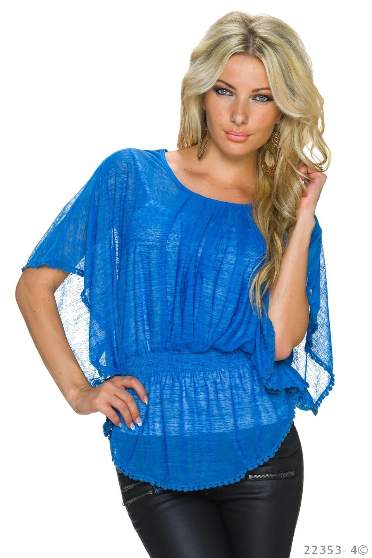 Top + Shirt Blauw - Wit