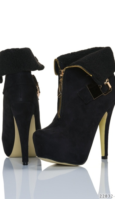 Plateau-Booties Black