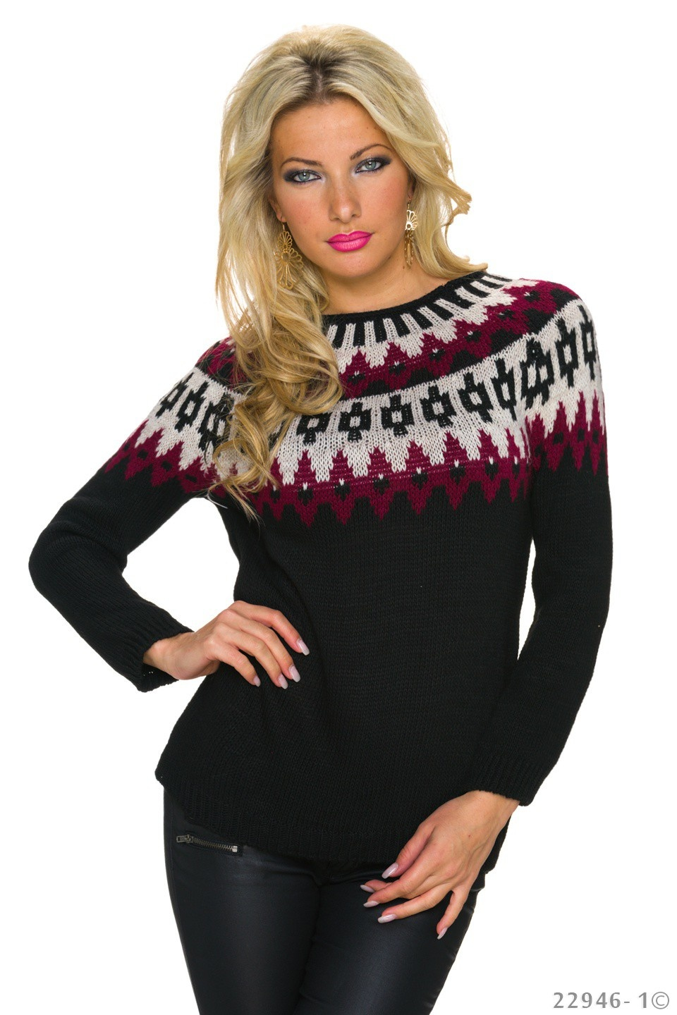 Knitted-Pullover Mixed - Black