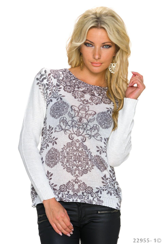 Gebreide-Pullover Wit - Zwart