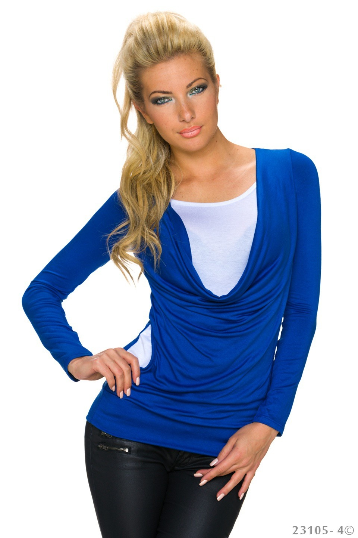 Shirt met lange mouwen Koningsblauw
