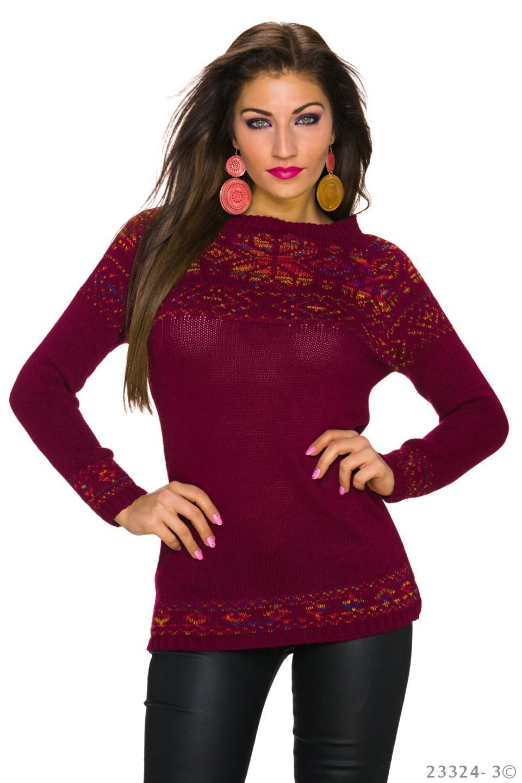 Gebreide-Pullover Wijn-Rood