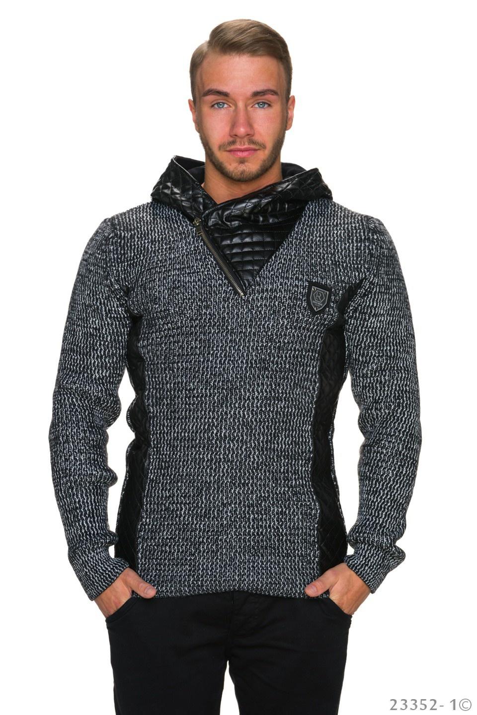 Capuchon-Pullover Zwart - Wit