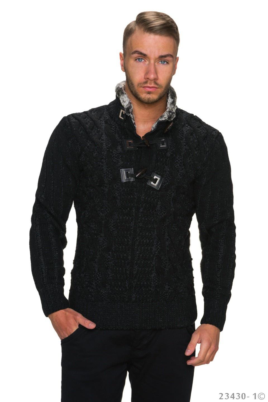 Gebreide-Pullover Zwart