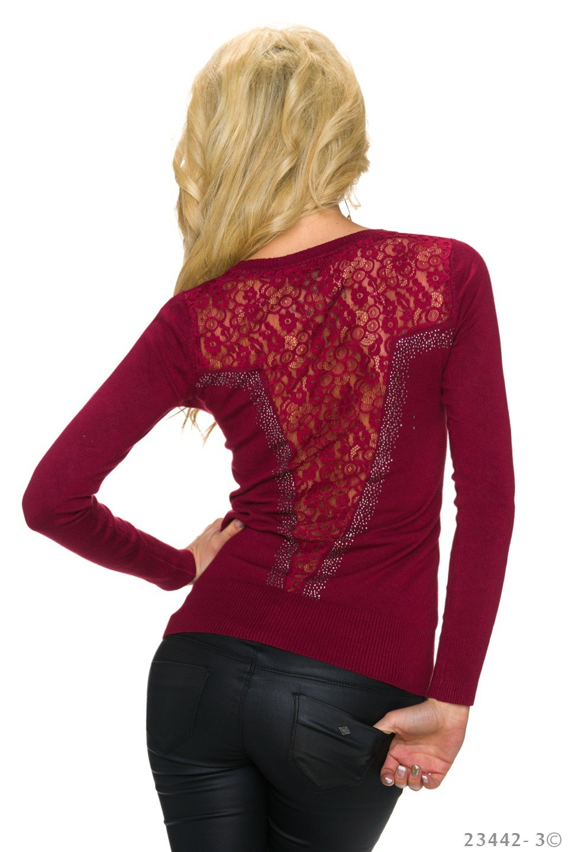 Pullover Wijn-rood
