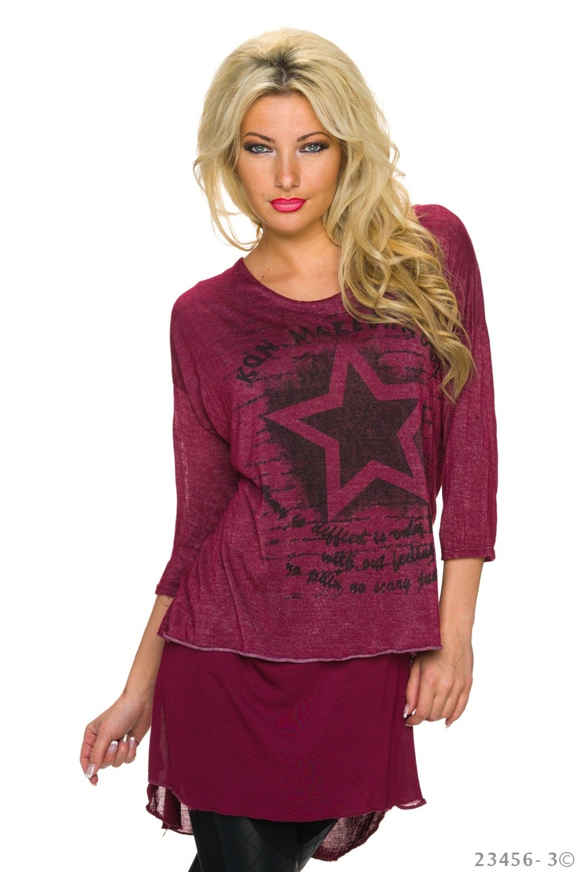 Mullet Shirt Wijn-Rood
