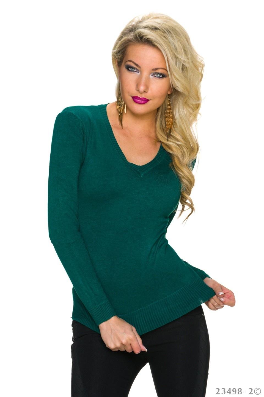 Fijn-Gebreide-Pullover Groen