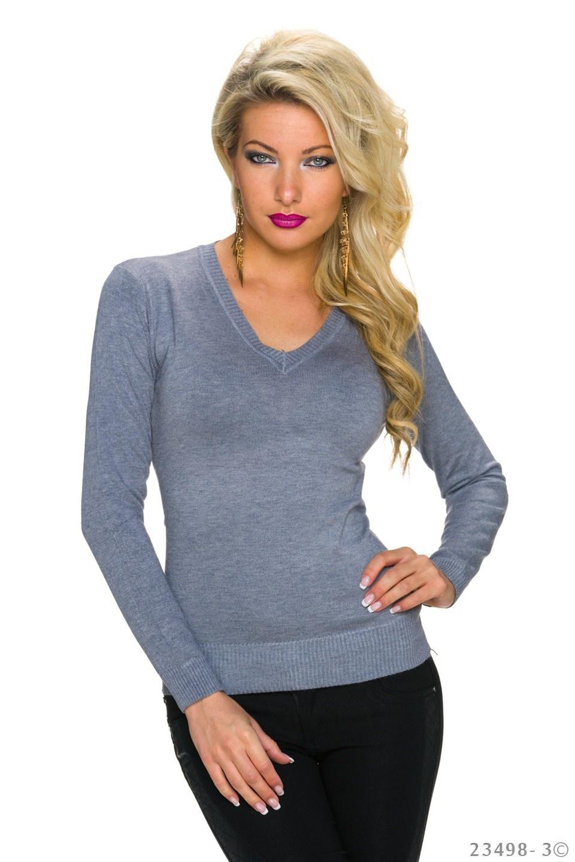 Fijn-Gebreide-Pullover Grijs