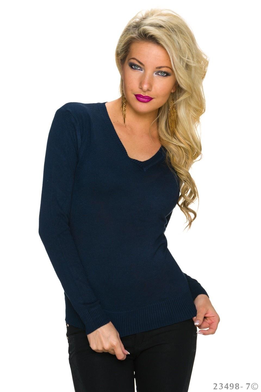 Fijn-Gebreide-Pullover Donkerblauw