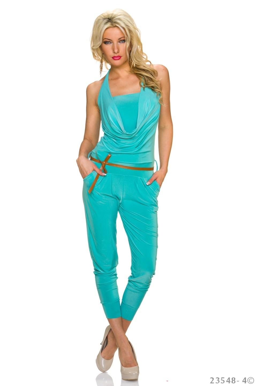 Halter-Jumpsuit Turquoise-Groen