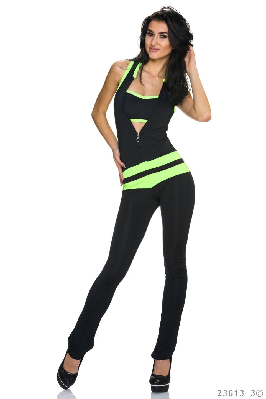 Jumpsuit Zwart - Neon-Groen