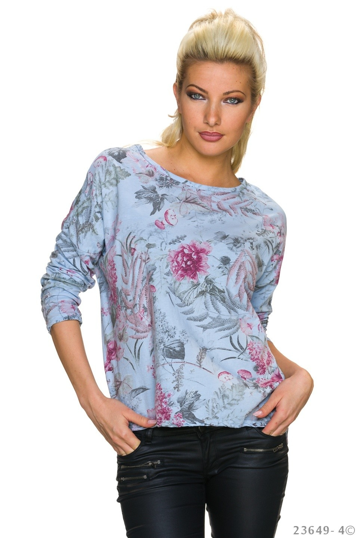 Shirt met lange mouwen Mixed - Blauw