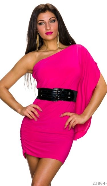 Asymmetrical Mini-Dress Fuchsia