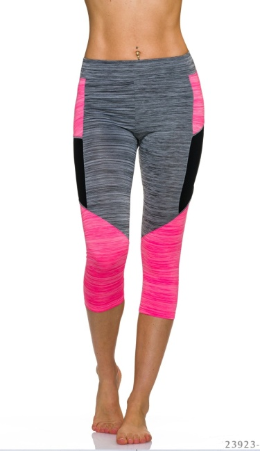 3/4-leggings Grijs / Neon-Rosa