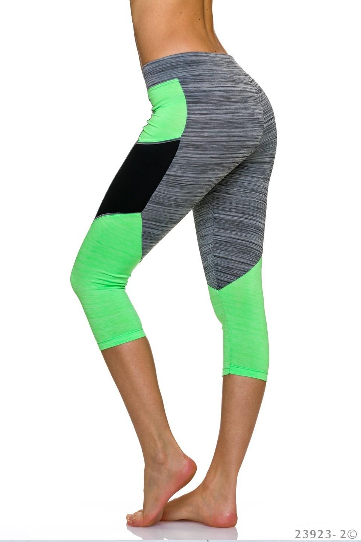 3/4-leggings Grijs - Neon-Geel