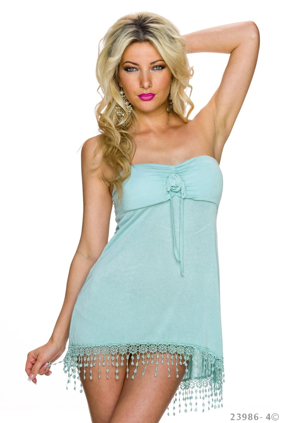 Strapless Top Turquoise-Groen