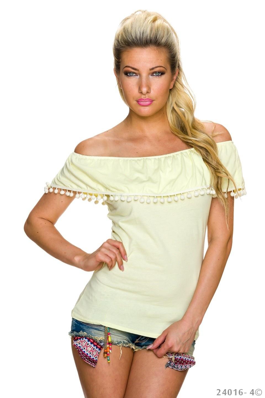Shirt met korte mouwen Geel
