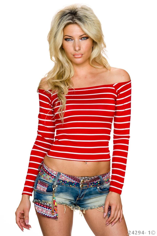 Shirt met lange mouwen Rood - Wit