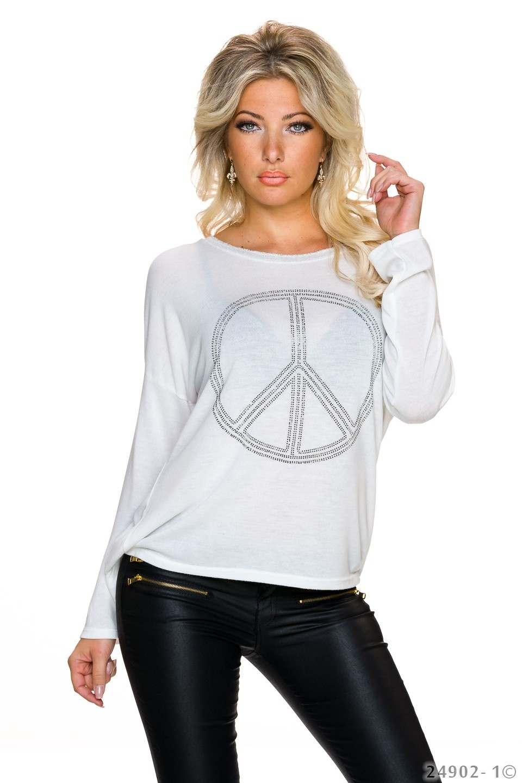 Gebreid-Shirt Wit