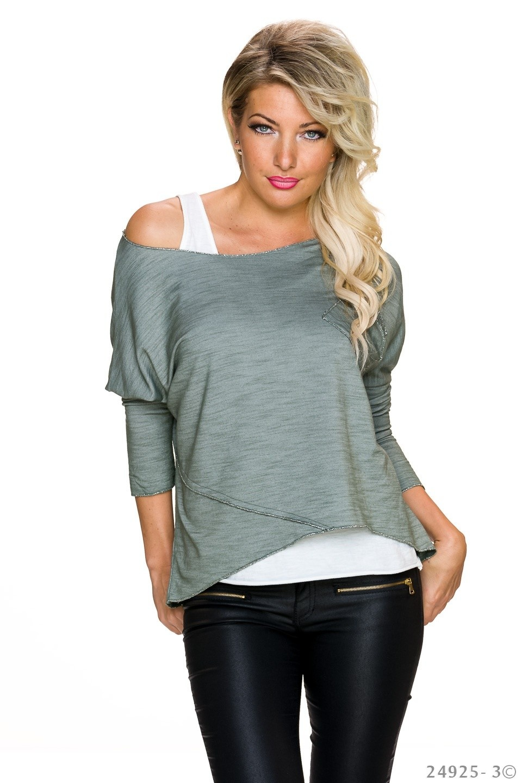Top + Shirt Olijf
