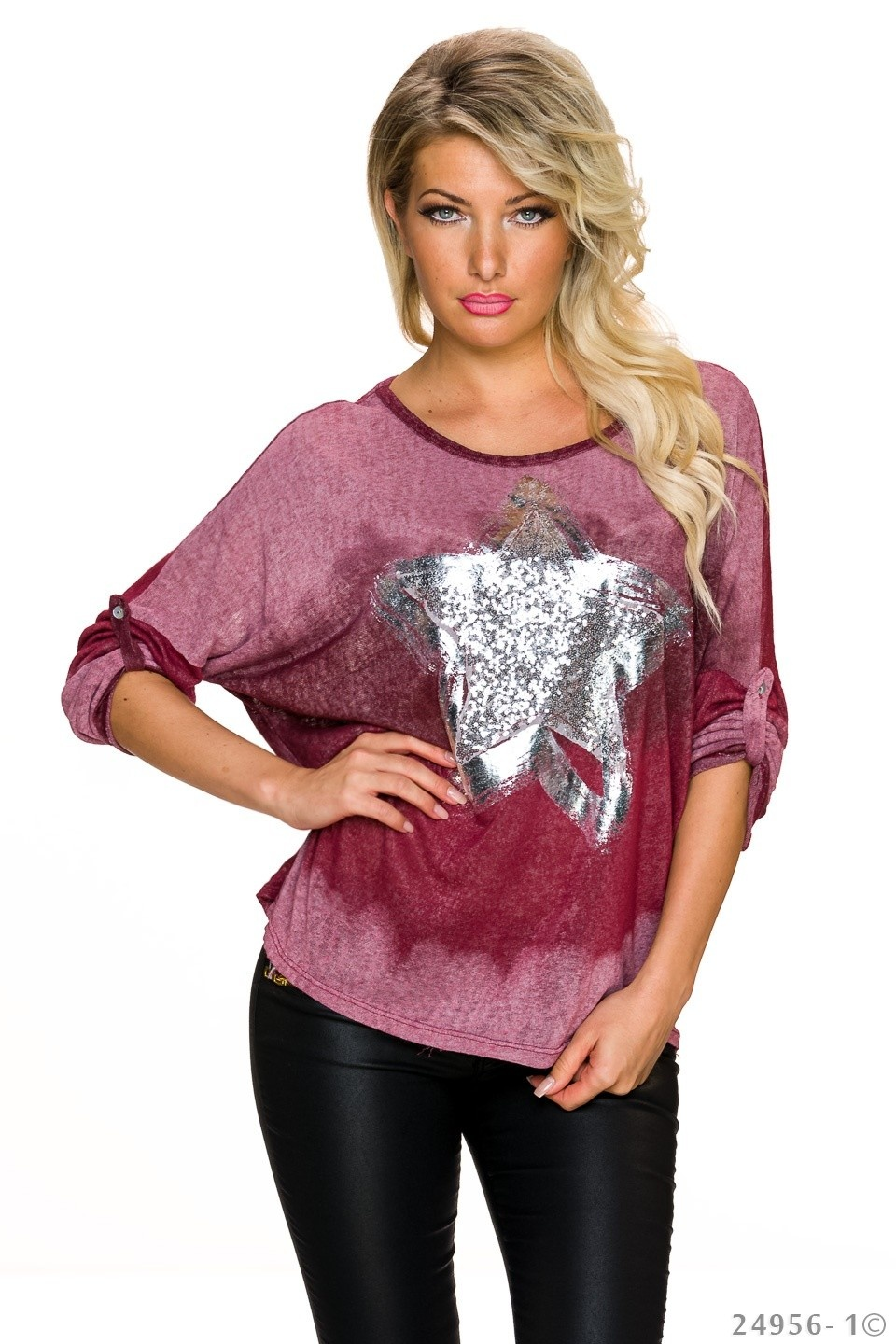 Long-Sleeved-Shirt Wine-Red