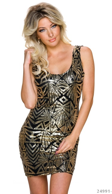 Pailletten-Mini-Dress Black / Gold