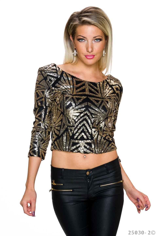 Pailletten-Shirt Zwart - Goud