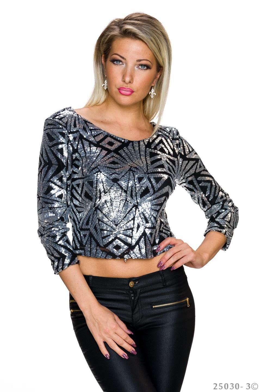 Pailletten-Shirt Zwart - Zilver
