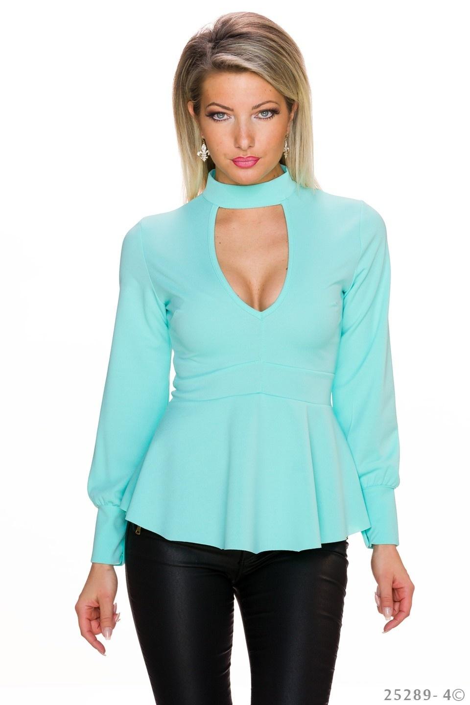 Shirt met lange mouwen Turquoise-Groen
