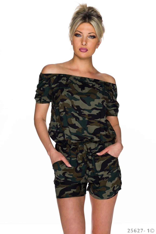 Hotpants-Jumpsuit Camouflage