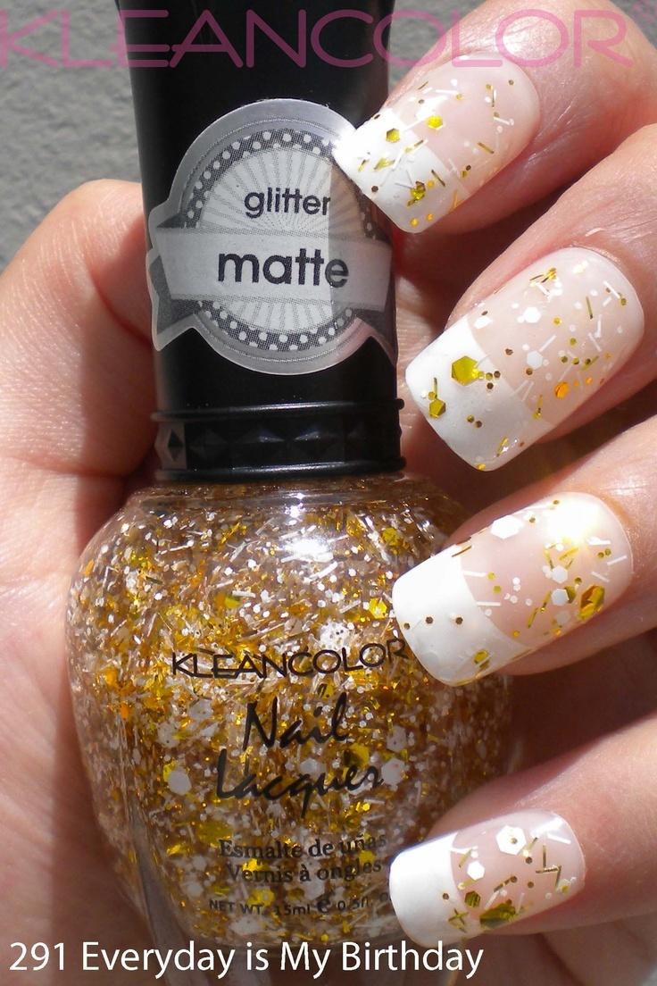 Nailpolisch Gold glitter - White
