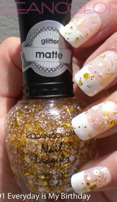 Nagellak Goud glitter / Wit