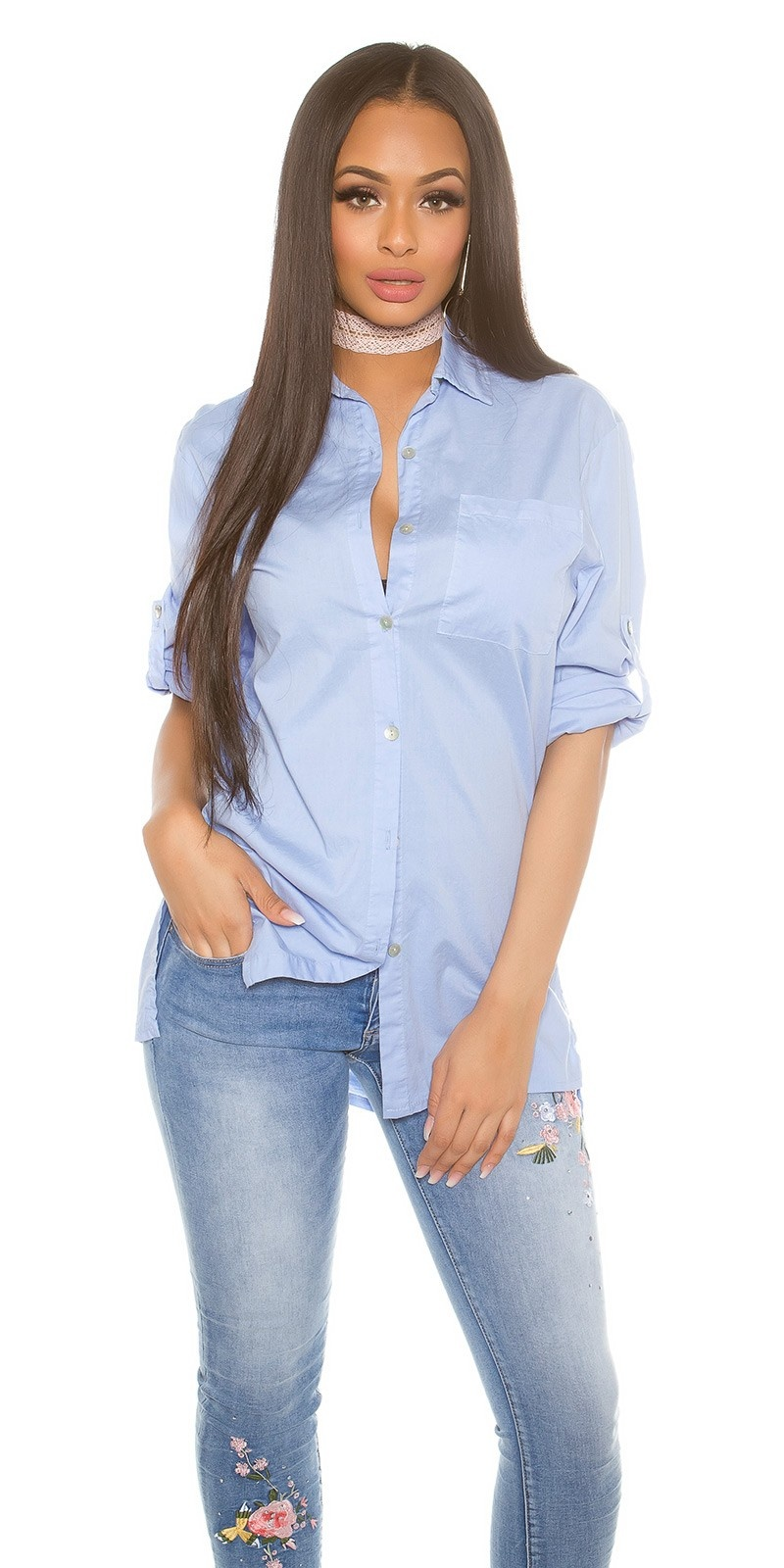 Trendy high-low blouse with roll-up sleeves Babyblue