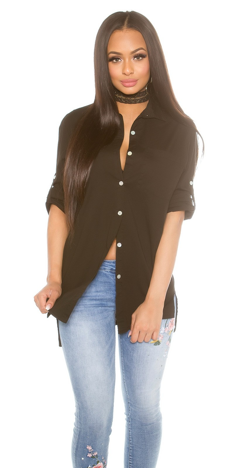 Trendy high-low blouse with roll-up sleeves Black